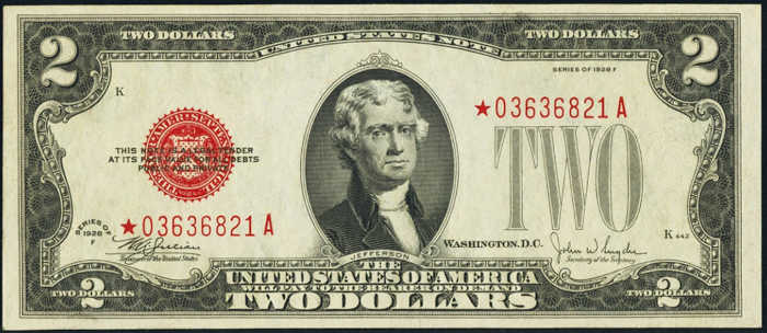 $2 1928F Star Legal Tender Note