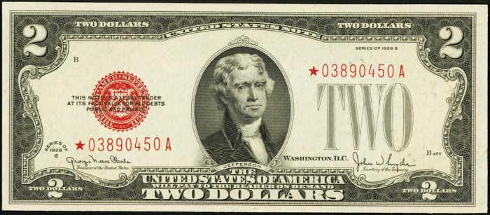 $2 1928G Star Legal Tender Note