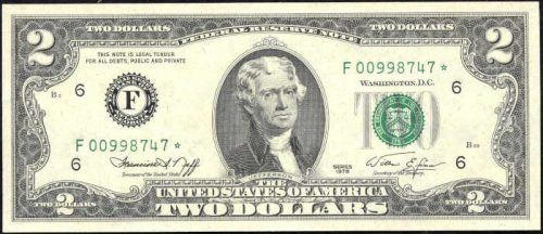 $2 Green Seal Federal Reserve Note