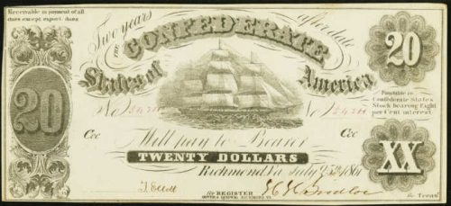 Picture of $20 1861 Confederate States of America Note