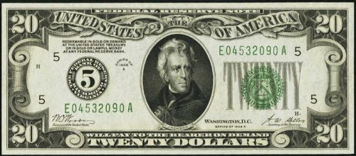$20 Green Seal Federal Reserve Note