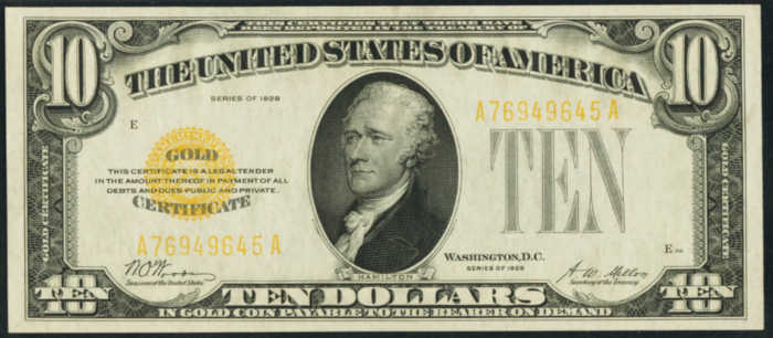 Picture of 1928 $10 Gold Certificate