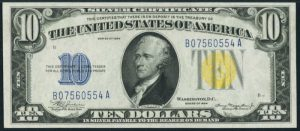 Picture of $10 1934 North Africa Yellow Seal Silver Certificate
