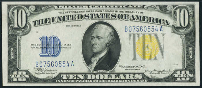 Picture of old $10 North African silver certificate with Alexander Hamilton's face on it from 1934