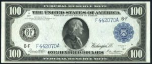 Picture of $100 1914 Federal Reserve Note Value