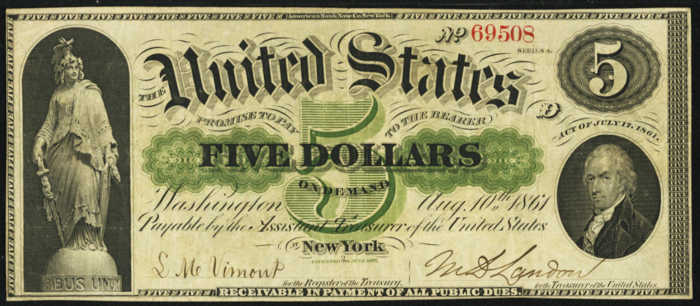 Picture of 1861 $5 Demand Note
