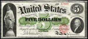 1862-63 $5 Legal Tender Value