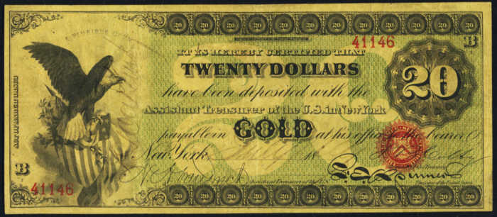1863 $20 Gold Certificate Value