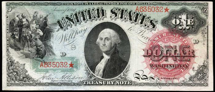 1869 $1 Legal Tender Rainbow Value