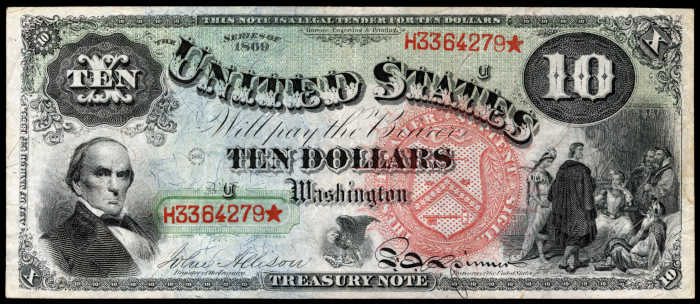 Picture of 1869 $10 Legal Tender Rainbow