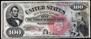 Picture of 1869 $100 Legal Tender Rainbow