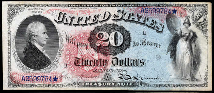 Picture of 1869 $20 Legal Tender Rainbow
