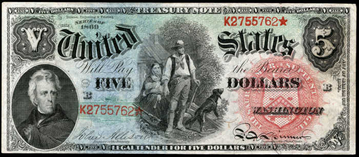 Picture of 1869 $5 Legal Tender Rainbow