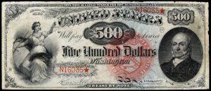 1869 $500 Legal Tender Rainbow Value
