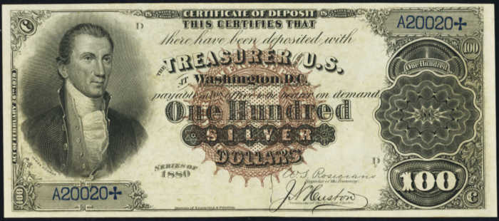 Picture of 1880 $100 Silver Certificate