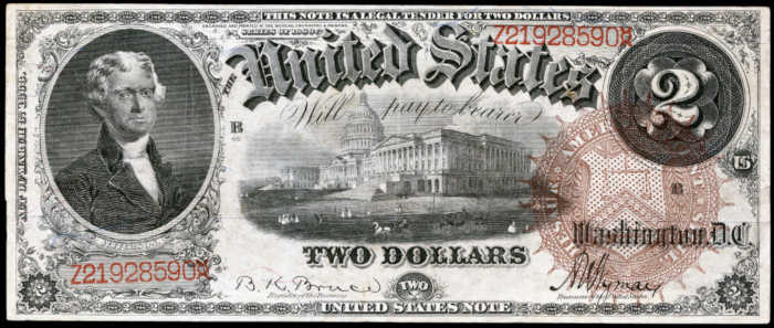 Picture of 1880 $2 Legal Tender