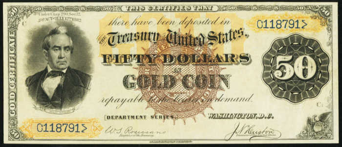 1882 $50 Gold Certificate Value