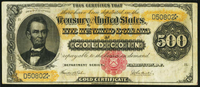 Picture of 1882 $500 Gold Certificate