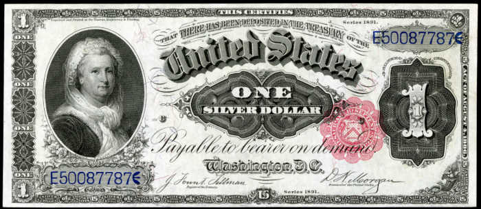 1891 $1 Silver Certificate Value