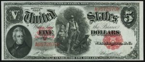 Picture of 1907 $5 Legal Tender Value
