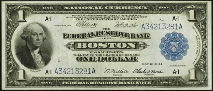 Picture of 1918 $1 Federal Reserve Bank Note