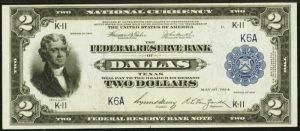 Picture of 1918 $2 Federal Reserve Bank Note