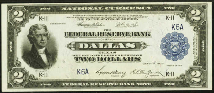 """Picture of old $2 federal reserve bank """"battleship"""" note from 1918"""