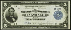 Picture of 1918 $5 Federal Reserve Bank Note