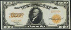 1922 $1000 Gold Certificate Value