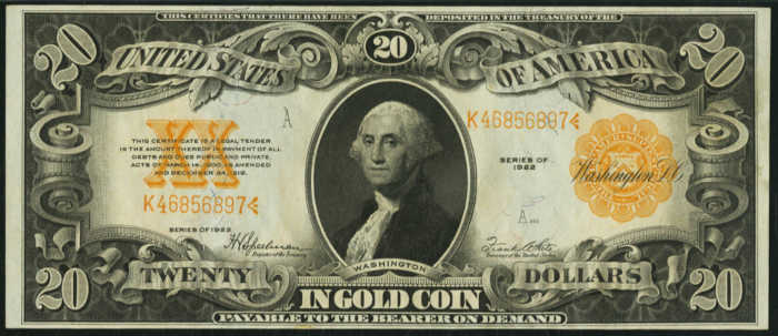 Picture of old $20 Gold Certificate Bill with George Washington's face on it from 1922