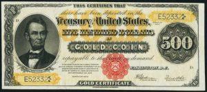 1922 $500 Gold Certificate Value