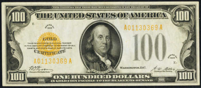 Picture of $100 Gold Certificate yellow seal bill with Franklin's face on it from 1928