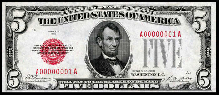 Picture of 1928 $5 Legal Tender Bill