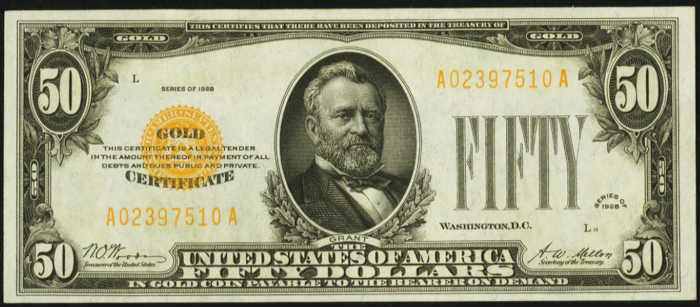 Picture of $50 Gold Certificate yellow seal bill with Grant's face on it from 1928