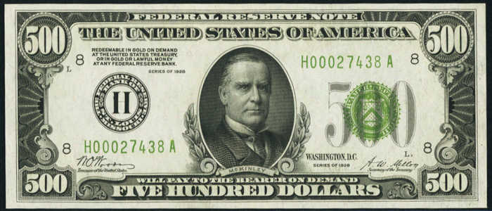 Picture of 1928 $500 Federal Reserve Note