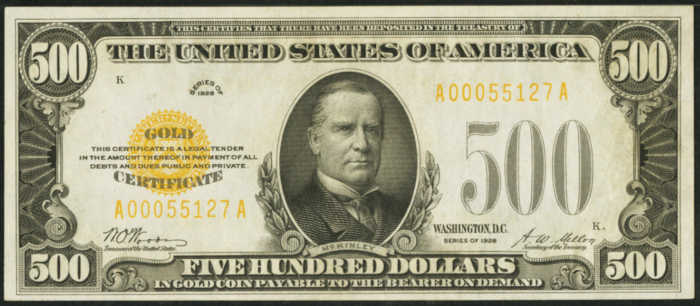 Picture of 1928 $500 Gold Certificate