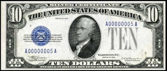 Picture of 1933 $10 Silver Certificate Bill
