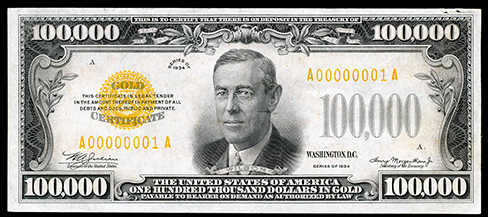 1934 $100000 Gold Certificate Note Value