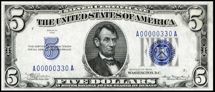 1934 $5 Silver Certificate Value
