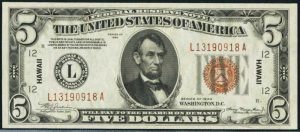Picture of 1935 $5 Hawaii Note