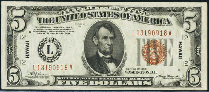 Picture of $5 brown seal Hawaii note with Abraham Lincoln's face on it from 1934