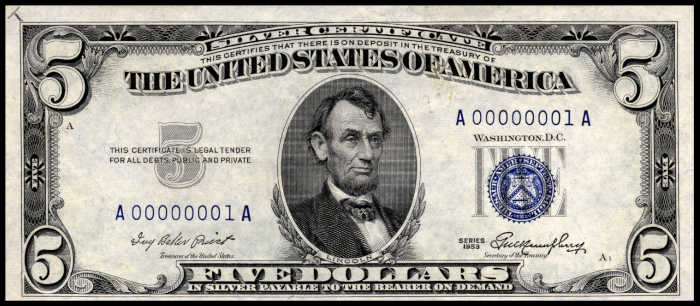 Picture of 1953 $5 Silver Certificate Note