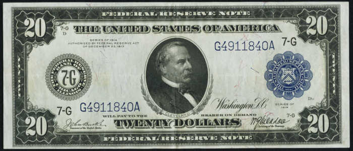 $20 1914 Federal Reserve Note Value