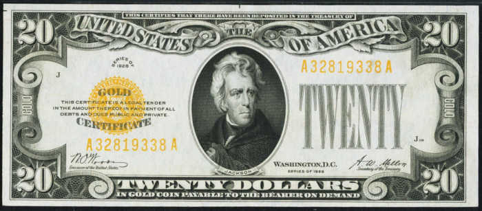 Picture of 1928 $20 Gold Certificate