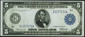 Picture of $5 1914 Federal Reserve Note Value