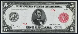 Picture of $5 1914 Red Seal FRN Value
