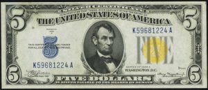 Picture of $5 1934A North Africa Yellow Seal Silver Certificate