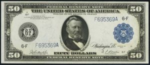 Picture of $50 1914 Blue Seal Federal Reserve Note