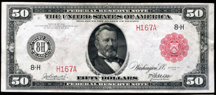 Picture of old $50 red seal federal reserve note with Grant on it from 1914