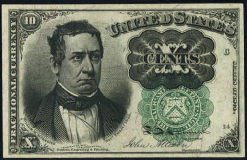 Fifth Issue Green Ten Cents Fractional Currency Front